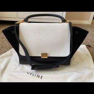 Celine trapeze white black shoulder bag